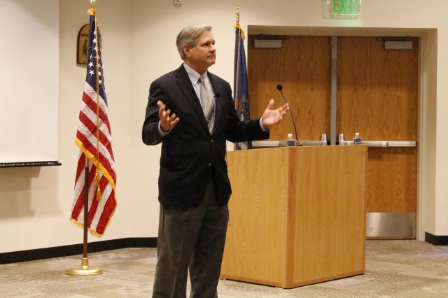 On Feb. 18, North Dakota's Senator Hoeven visited the UMary Campus to discuss the future of United States' oil production and the Keystone XL Pipeline. He also answered questions directly from UMary student who attended the discussion in Butler Hall. Photo by Michael Feist.