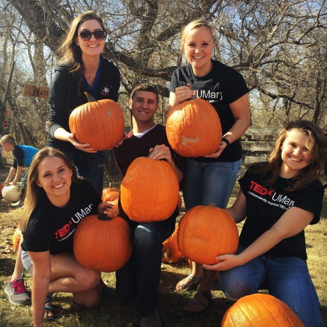 Liv and some of the members of TedX U-Mary attended Papa's Pumpkin Patch earlier this year.  From left to right: Kendra Weigel, Erin Hardy, Thomas Stromme, Liv Stromme, Mikayla Unruh.