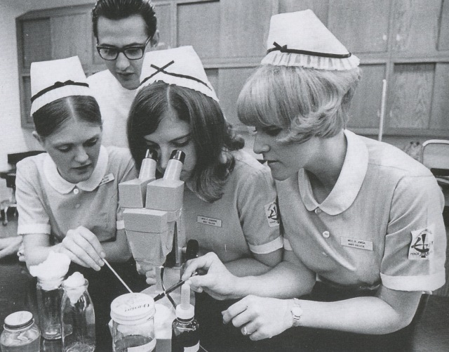 Student nurses of the class of 1972 in anatomy lab examine a specimen. Clustered in front of Gary Zarr are (l-r) Mary Foss, Paula Osbourne, and Ruth Jorda Goicoechea. (Photo Courtesy of UMary).