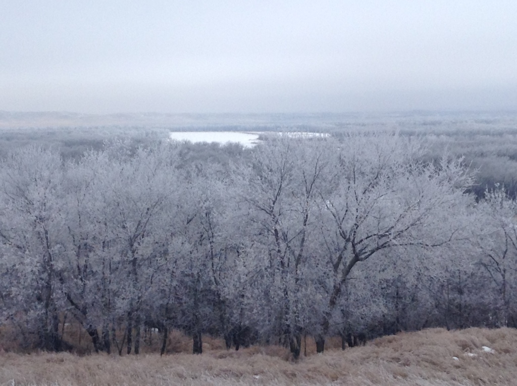 Hoar frost covers the valley below campus on a chilly day in the winter of 2015. Photo by Erin Hardy.